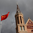 The Chinese flag flies at a Catholic Church